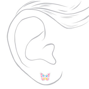 Sterling Silver Pastel Butterfly Stud Earrings - 3 Pack,
