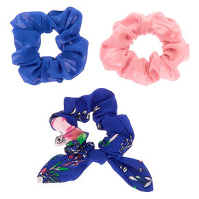 Floral Shine Hair Scrunchies - Navy, 3 Pack,