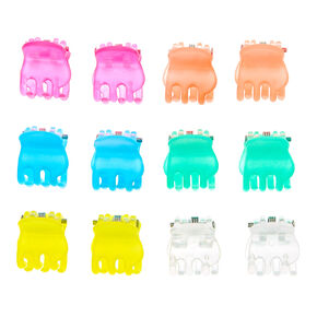 Neon Clear Mini Hair Claws - 12 Pack,
