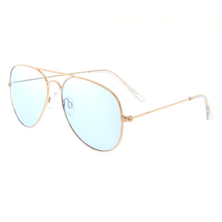 Blue Tinted Gold Tone Aviator Sunglasses,