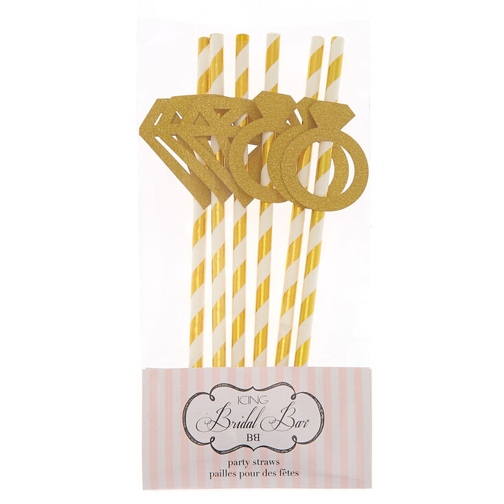 Bridal Party Straws - Gold, 6 Pack,