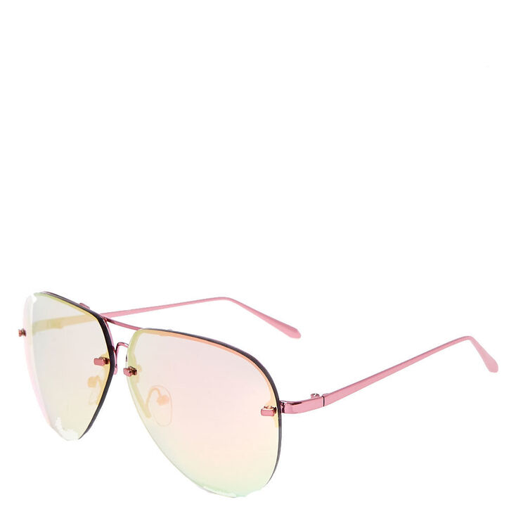 Rimless Aviator Sunglasses - Pink,