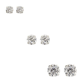 Sterling Silver 3 Pack Cubic Zirconia Stud Earrings,