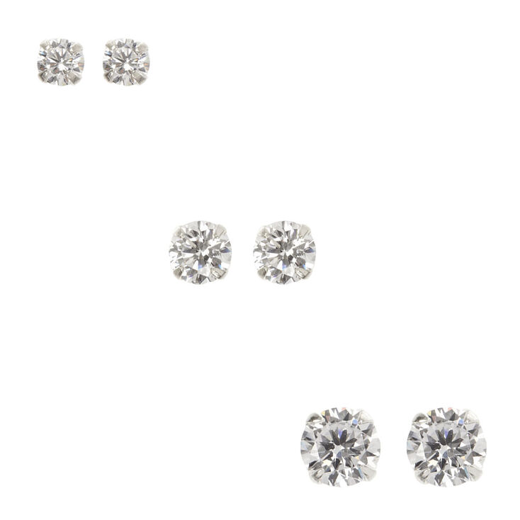 85a754501 Sterling Silver 3 Pack Cubic Zirconia Stud Earrings | Icing US