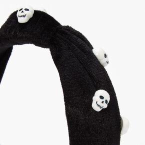 Skull Charm Knotted Headband - Black,