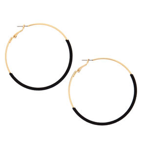 Gold 60MM Thread Wrapped Hoop Earrings - Black,