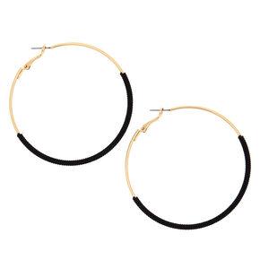 Gold 60MM Thread Wrapped Hoop Earrings - Black,