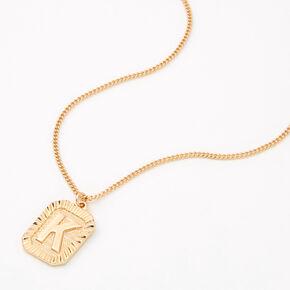 Gold Initial Rectangle Medallion Pendant Necklace - K,