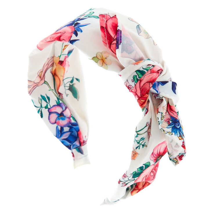 Rose Print Bow Headband - White,