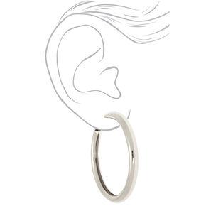 Silver 80MM Tube Hoop Earrings,