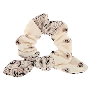 Paisley Print Bandana Bow Hair Scrunchie - White,
