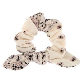 Paisley Print Bandana Bow Hair Scrunchie - White,