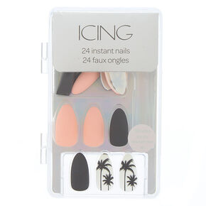 Matte Palm Tree Faux Nail Set - Black, 24 Pack,