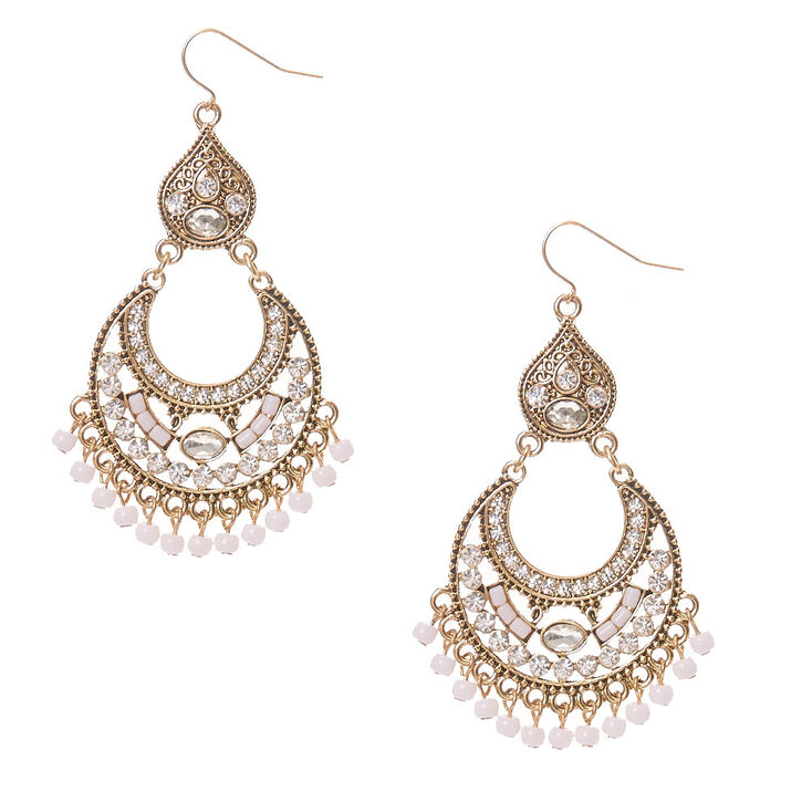 Rustic Gold Stoned Chandelier Drop Earrings,