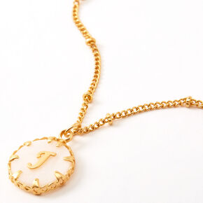 Gold Shell Initial Necklace - J,