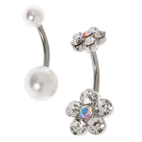 Silver 14G Crystal Flower & Pearl Belly Rings - 2 Pack,