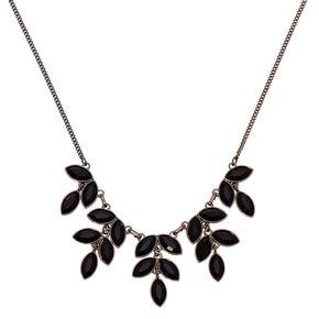 Hematite Leaf Statement Necklace - Black,