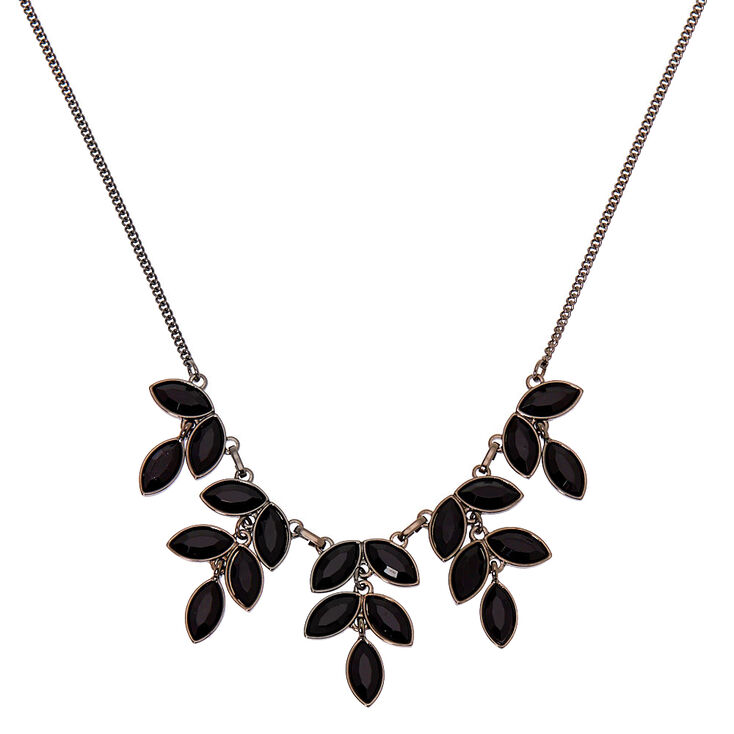 Hematite Leaf Statement Necklace - Black,