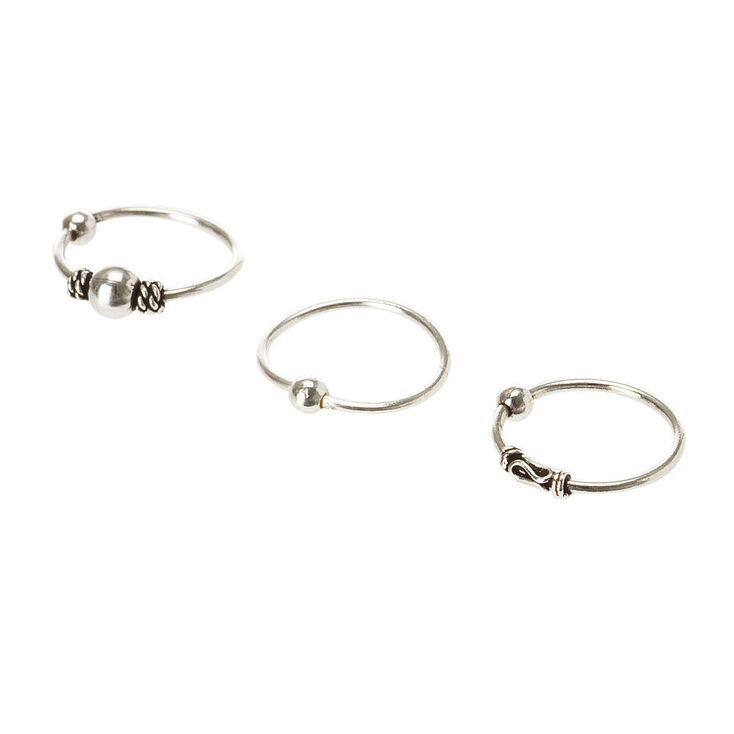 Sterling Silver Bead Cartilage Hoop Earring Set,