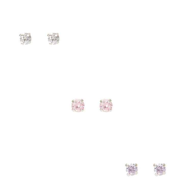 Sterling Silver Cubic Zirconia Mixed Stud Earrings - 3 Pack,