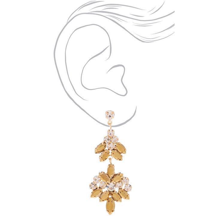"""Gold Rhinestone 3"""" Double Fan Drop Earrings,"""