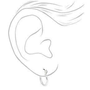 Silver 15MM Rope Textured Hoop Earrings,
