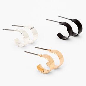 Mixed Metal Mini Hoop Earrings - 3 Pack,