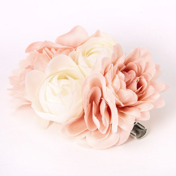 1940s Hair Snoods- Buy, Knit, Crochet or Sew a Snood Icing Bouquet Of Flowers Hair Clip - Blush Pink $7.99 AT vintagedancer.com