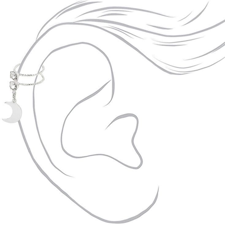 Silver Crystal Moon Charm Ear Cuff,