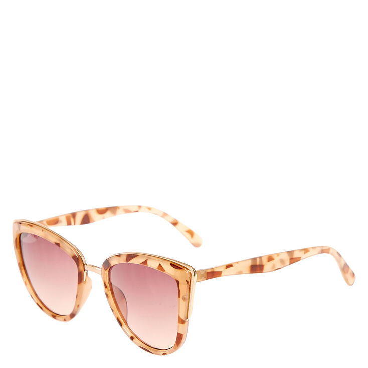 Brown Marble Print Cat Eye Sunglasses,