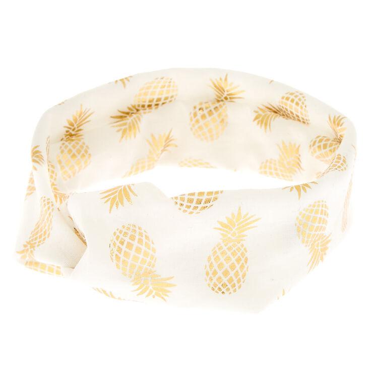 Golden Pineapple Headwrap - White,