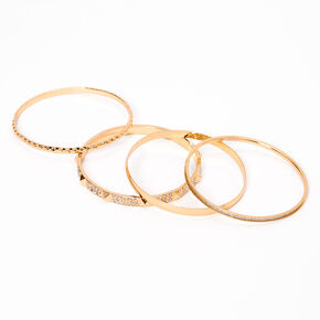 Gold Studded Rhinestone & Glitter Bangle Bracelets - 4 Pack,