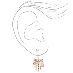 Rose Gold Dangle Ear Jacket Earrings,