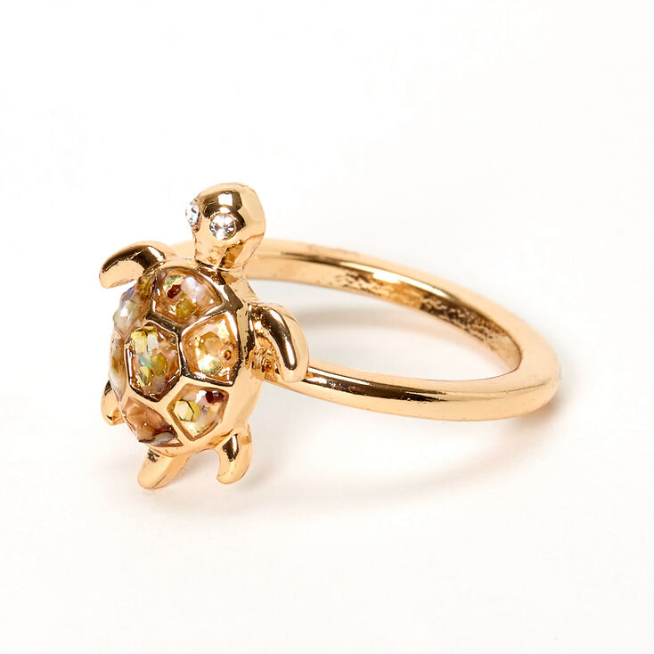 Gold Abalone Stone Turtle Ring,