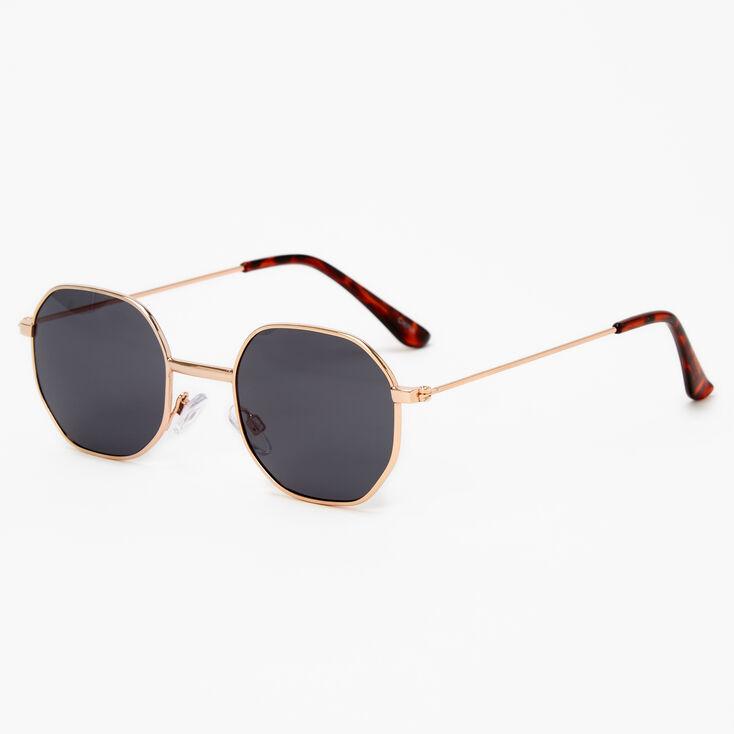 Tortoiseshell Octagonal Sunglasses - Black,