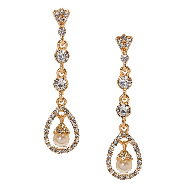 Gold Tone & Crystal Open Teardrop with Faux Pearl Linear Drop Earrings,