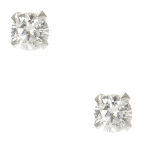 Sterling Silver Cubic Zirconia Stud Earrings - 3MM,