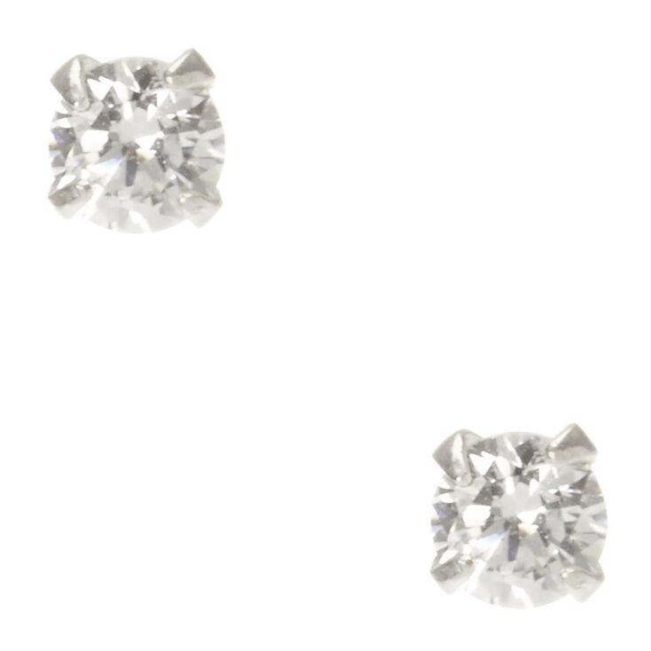 Sterling Silver Cubic Zirconia Stud Earrings - 3MM,