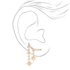 """Gold 1"""" Embellished Celestial Ear Crawler Earrings,"""