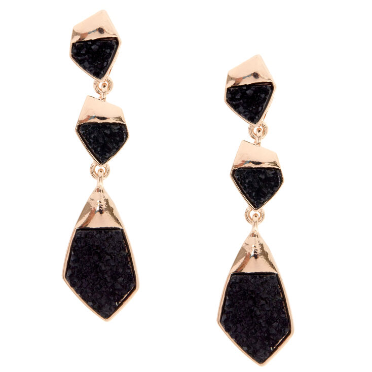Textured Black Stone Drop Earrings,