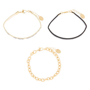 Animal Print Chain Bracelets - 3 Pack,