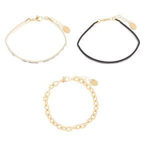 Animal Print Chain Bracelets - 3 Pack,