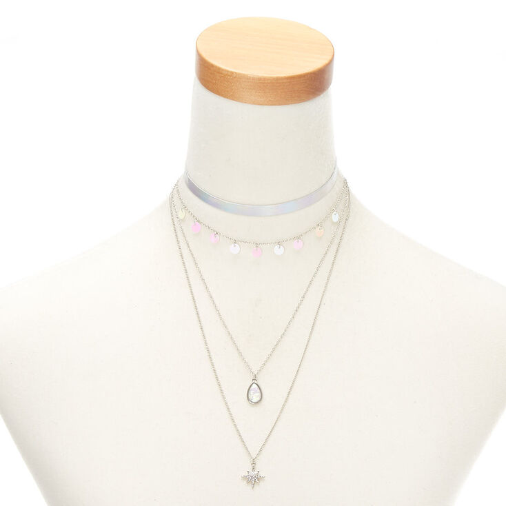 Silver Holographic Assorted Necklaces - 4 Pack,