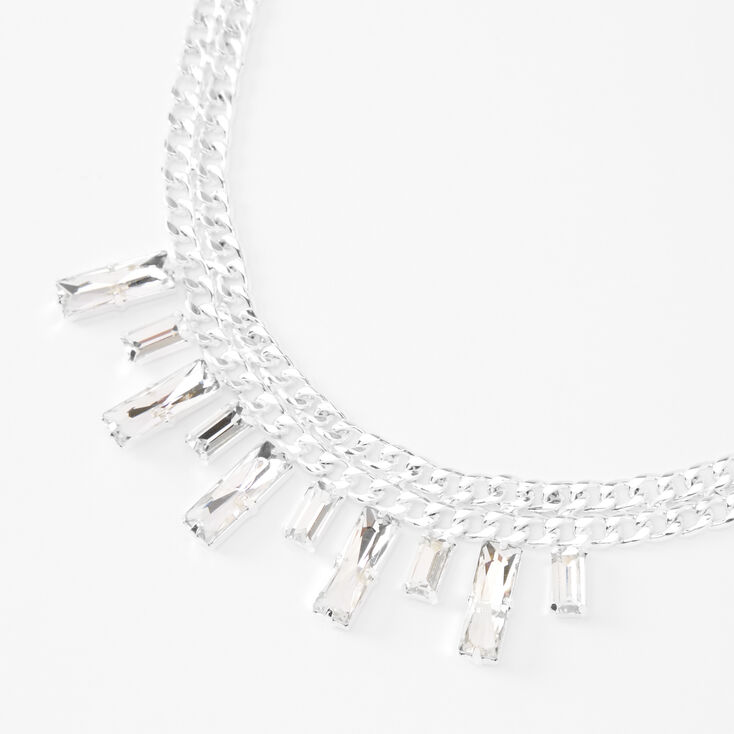 Silver Rectangular Rhinestone Curb Chain Statement Necklace,