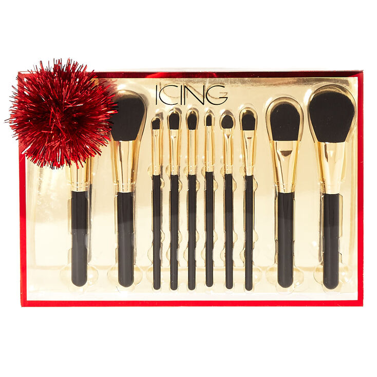 Black & Gold 10 Piece Makeup Brush Set,