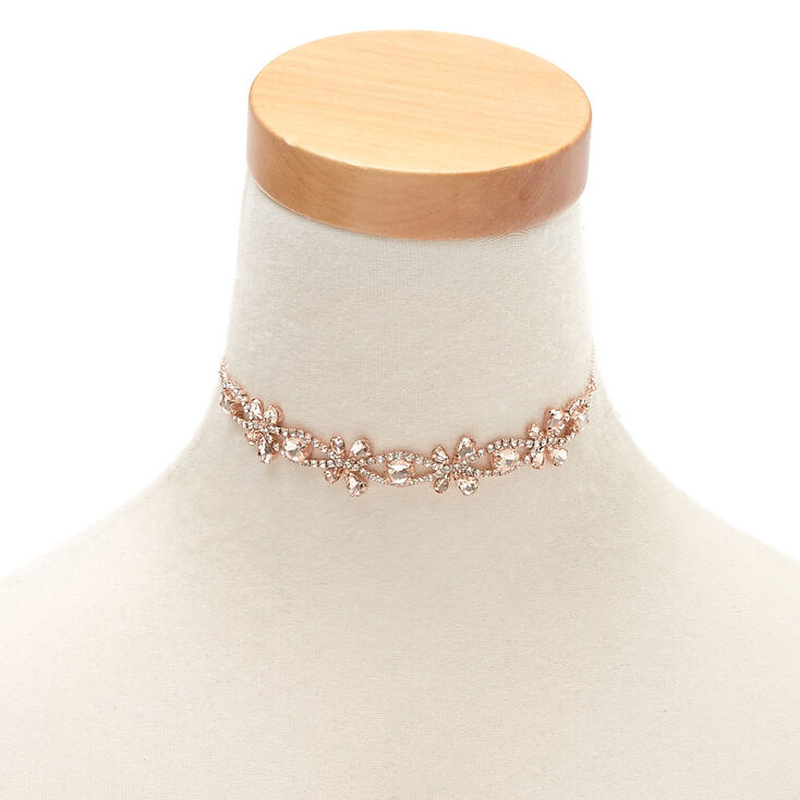 Rose Gold Rhinestone Butterfly Choker Necklace,