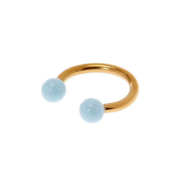 16G Gold And Baby Blue Rook Hoop,