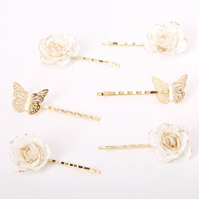Gold Butterfly Flower Hair Pins - White, 6 Pack,