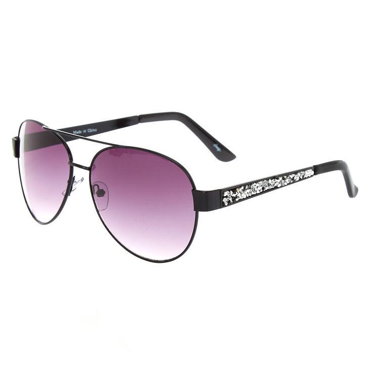 Black & Silver Gem Aviator Sunglasses,