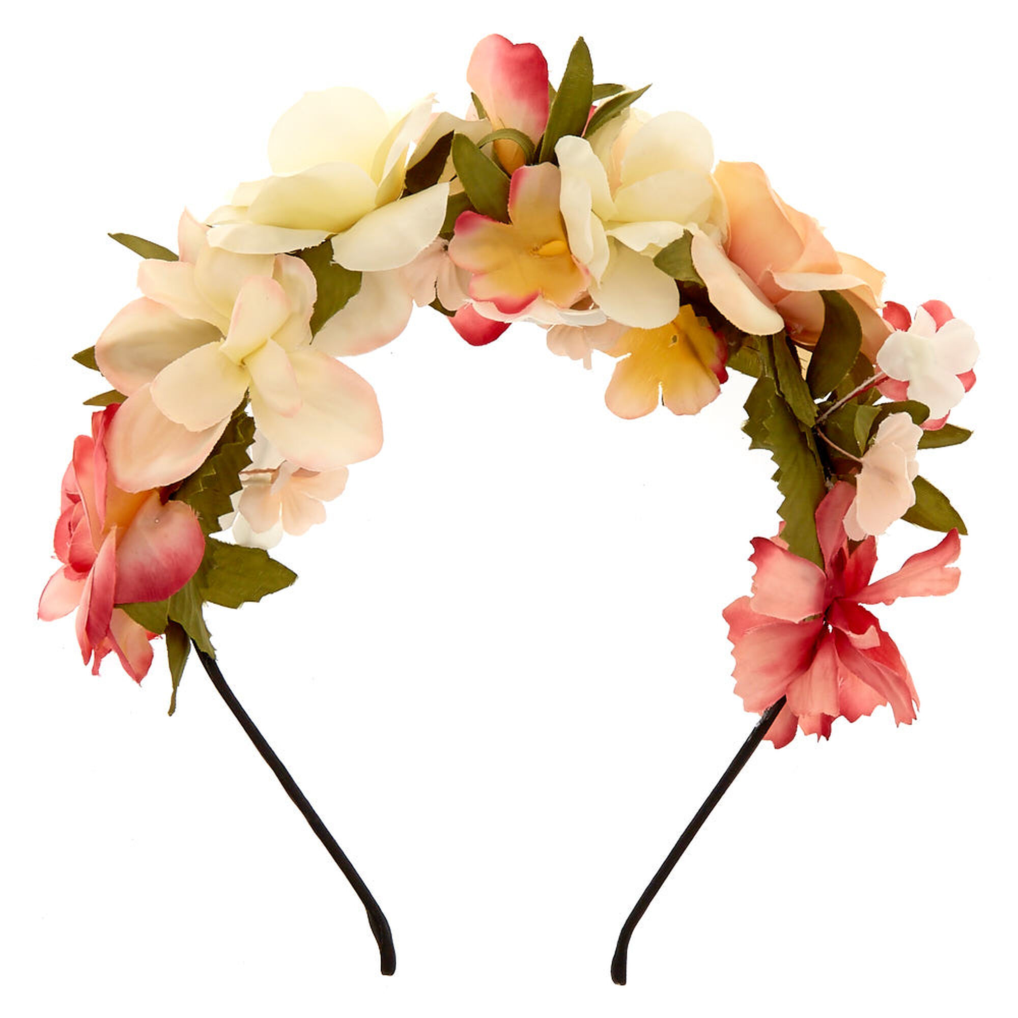 Ivory pink flowers all over headband icing us ivory amp pink flowers all over headband mightylinksfo Images